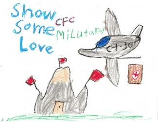 "Drawing of an airplane flying over a building dropping supplies and text ""Show Some CFC Military Love"""