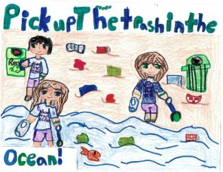 "Drawing with kids picking up trash on the beach and text ""Pick up the trash in the ocean"""