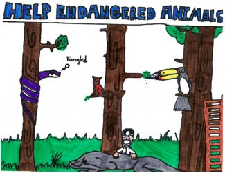 "Drawing of a forest scene with text ""help endangered animals"""